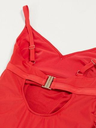 WOMEN Wolf & Whistle Maternity Exclusive wrap front swimsuit in red D-F