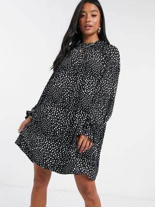 WOMEN Petite mini dress with frill neck spot swing dress in black and white spot