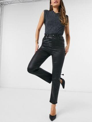 WOMEN high-rise 'sassy' cigarette jeans in coated black
