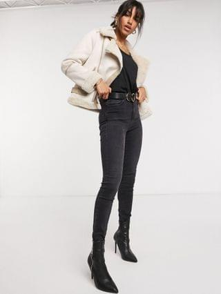 WOMEN Fashion Union faux shearling biker jacket