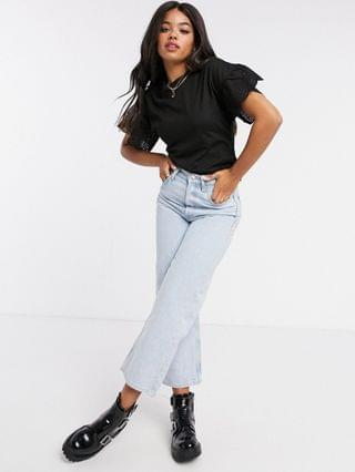 WOMEN Wednesday's Girl relaxed t-shirt with broderie trim sleeves
