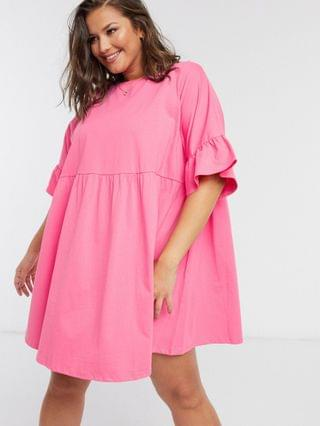 WOMEN Curve super oversized ruffle-sleeve smock dress in bright pink