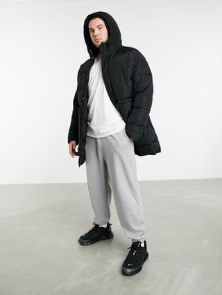 Plus puffer jacket with drawcord waist in black