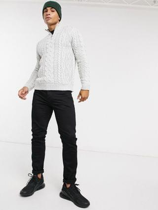 heavyweight cable knit half zip sweater in light gray