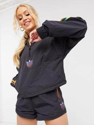 WOMEN adidas Originals trefoil cropped hoodie in black