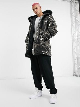 Sixth June parka with new camo print in white and black