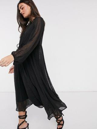 WOMEN textured mesh trapeze midi dress with bubble sleeves in black