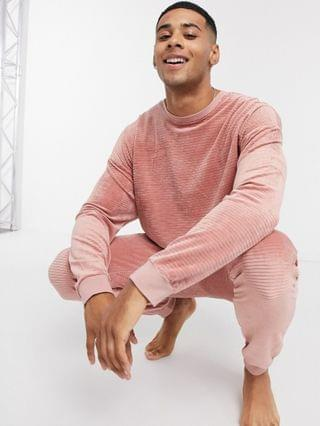 lounge pyjama sweatpants and T-shirt set in ribbed velour
