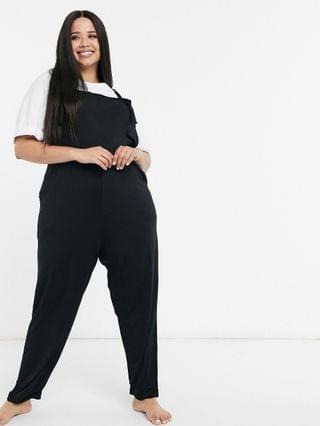 WOMEN curve jersey overalls in black