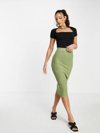 WOMEN Missguided Tall cable knit skirt in khaki