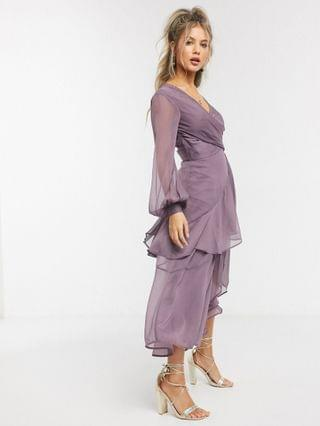 WOMEN wrap waist midi dress with double layer skirt and long sleeve in mauve