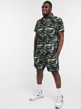 New Look Plus & Tall leafy camo ripstop short in black