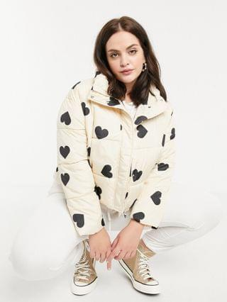 WOMEN Wednesday's Girl Curve padded jacket in heart print