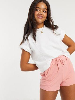 WOMEN In The Style X Saffron Barker runner shorts in pink co ord