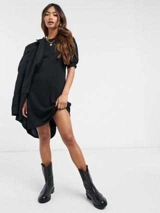 WOMEN Vero Moda mini sweat dress with puff sleeve in black