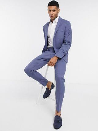 wedding super skinny suit jacket with micro texture in mid blue