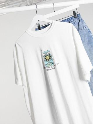 WOMEN Daisy Street Plus relaxed t-shirt with take the sunshine print