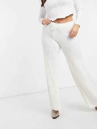 WOMEN In The Style Plus x Lorna Luxe lullaby coordinating ribbed wide leg pants in ecru
