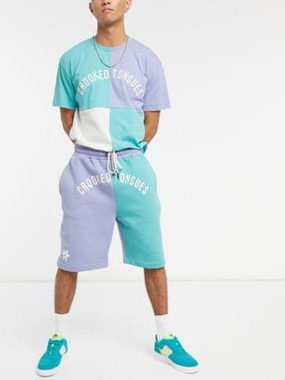 Crooked Tongues cut & sew shorts in pastel colors