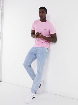 Lacoste pima cotton t-shirt with croc in pink