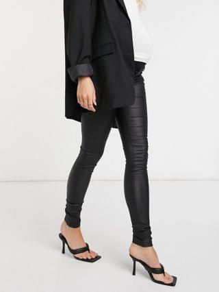 WOMEN Mamalicious Maternity over the bump coated jeans in black