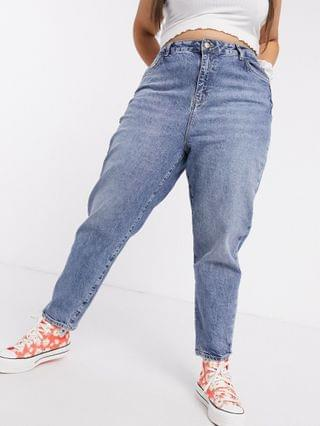 WOMEN New Look Curve waist enhancing mom jeans in mid blue
