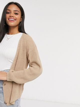 WOMEN In The Style x Lorna Luxe Copenhagen knitted double-breasted knitted cardigan in stone