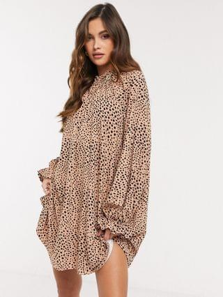 WOMEN mini dress with frill neck spot swing dress in camel and black spot