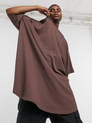 extreme oversized super longline t-shirt in brown