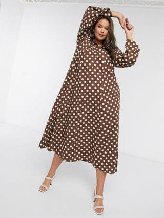 WOMEN Verona Curve high neck maxi shirt dress in chocolate spot