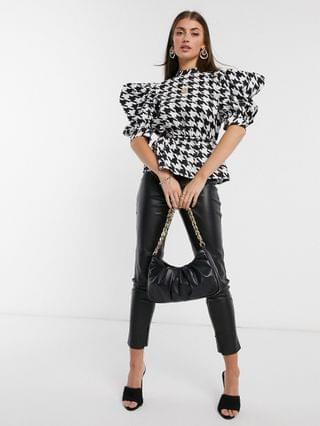 WOMEN cotton high-neck top with peplum in houndstooth