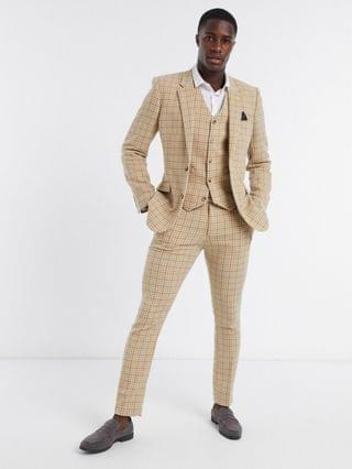 wedding skinny wool mix suit in camel houndstooth check