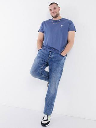 New Look Plus sketch rose embroidered t-shirt in blue