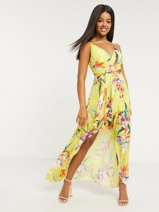 WOMEN Lipsy frilly off shoulder maxi dress in floral print