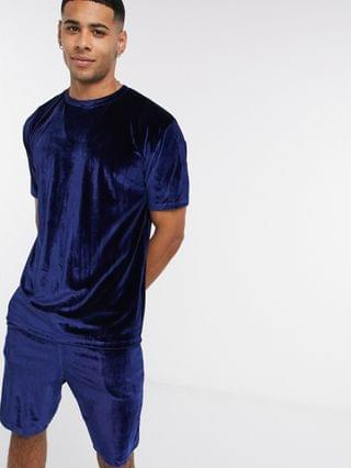 lounge pyjama shorts and T-shirt set in velour