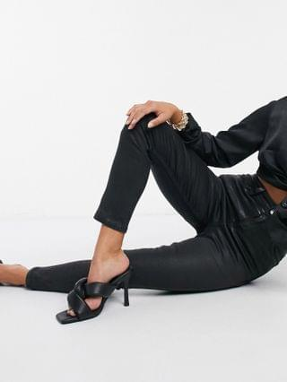 WOMEN Petite hourglass 'lift and contour' skinny jeans in coated black