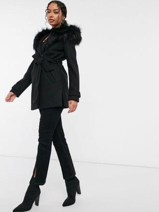 WOMEN River Island short robe jacket with faux fur hood in black
