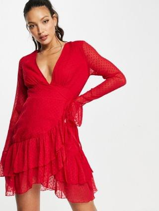 WOMEN Tall dobby mini wrap dress with fluted sleeve in red