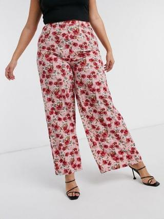 WOMEN In The Style Plus x Billie Faiers wide leg pants in red floral print