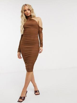 WOMEN mesh fallen shoulder halter neck midi dress with ruched detail in chocolate