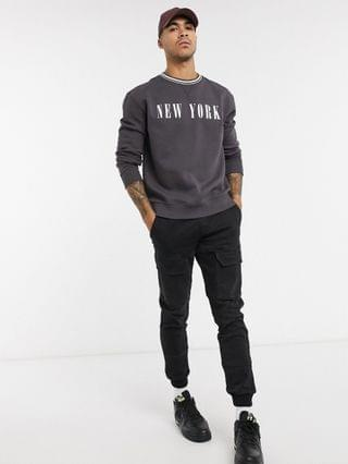 New Look New York tipped sweat in dark gray