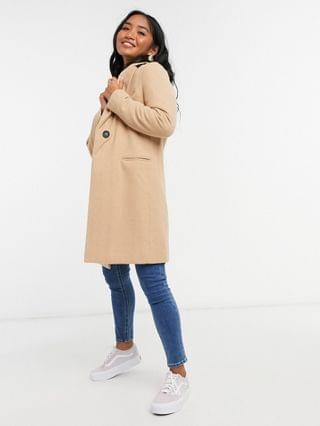 WOMEN New Look Petite button front formal coat in camel