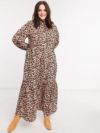 WOMEN Verona Curve high neck long sleeve dress with tiered skirt in leopard print