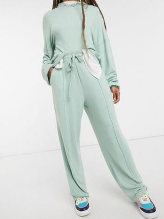 WOMEN fluffy hoodie tracksuit with straight leg sweatpants in mint