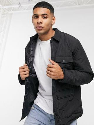 New Look overshirt in black paper touch fabric