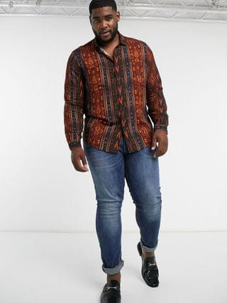 Plus regular vintage aztec print shirt in brown and orange