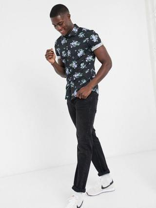 stretch slim floral in navy with rolled sleeves