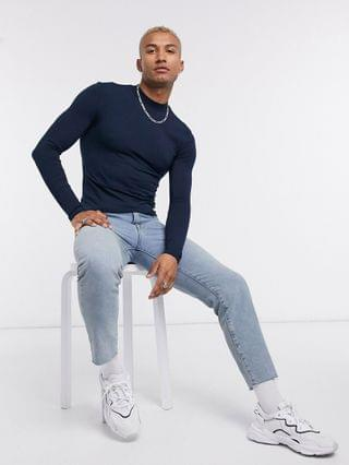 long sleeve muscle fit turtle neck in navy