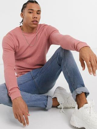 Tall long sleeve muscle fit waffle t-shirt in pink