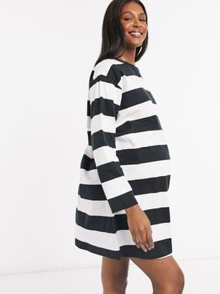 WOMEN Maternity oversized t-shirt dress with long sleeve in black and white stripe